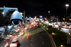 A speed dome camera new technology 4.0 signal for Checking speed of cars on high way street and check for safe accident on street are signal of speed check by CCTV system