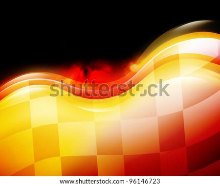 A speed race car background with red and yellow waves on a black background. There is a checkered flag flowing to signify the end or a winner. Use it for a race speedway concept.
