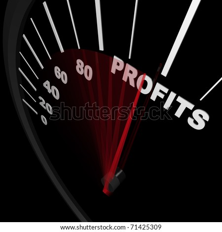 A speedometer rises representing increasing sales with needle pointing to word Profits