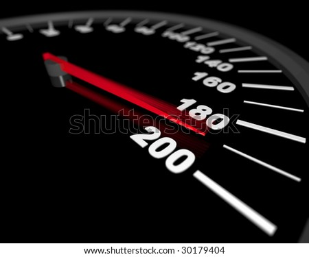 A speedometer showing a vehicle's speed being pushed to the maximum