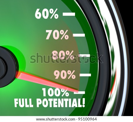 A speedometer with needle pointing to 100% Full Potential to symbolize that your maximum potential of opportunity has been reached and surpassed - stock photo