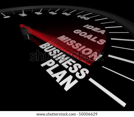 A speedometer with needle pointing to the words Business Plan - stock photo