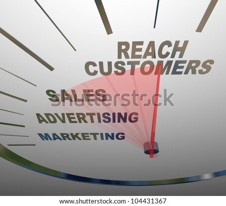 A speedometer with needle racing to the words Reach Customers, rising past the terms Advertising, Marketing and Sales to form a successful business plan for achieving growth - stock photo