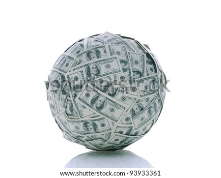 A sphere made up of USA one hundred dollar bills over a white background with reflection