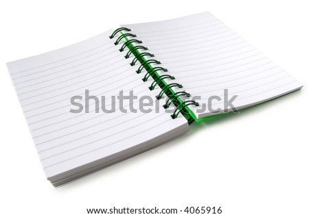 A spiral bound notebook with blank pages, isolated on a white background.