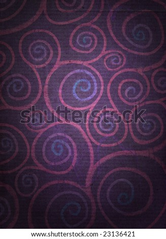 A spiral pattern, reminicent of flowers, on a dark distressed background