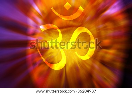 A spiritual hypnotic background with the holy symbol of OM on the backdrop of the face of a meditating buddha in healing colors.