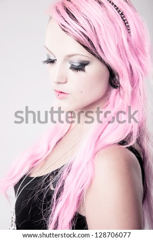 A splash of pink - girl with pink hair