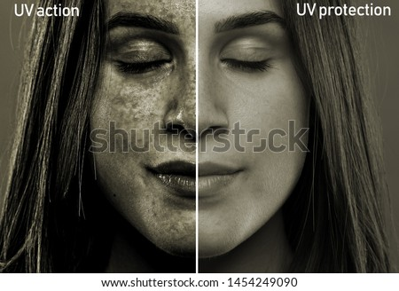 A split screen showing the results of sun rays on the soft face of a girl in her early twenties. After effects of skin with and without UV protection.