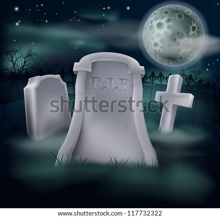 A spooky grave with RIP written on it and copy space below if you would like to add text. Great for Halloween, and the tombstone looks good as is if the copyspace is not required.