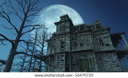 A spooky old haunted house on a moonlit night - 3D render.
