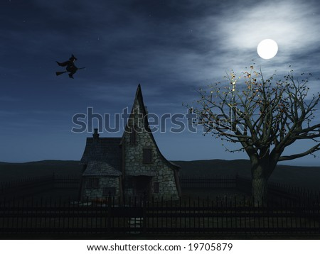 A spooky witch house at night with halloween pumpkins and a witch flying towards the full moon.