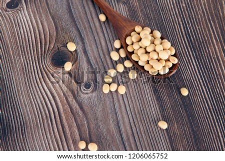 a spoon of miscellaneous grains of soybeans #1206065752