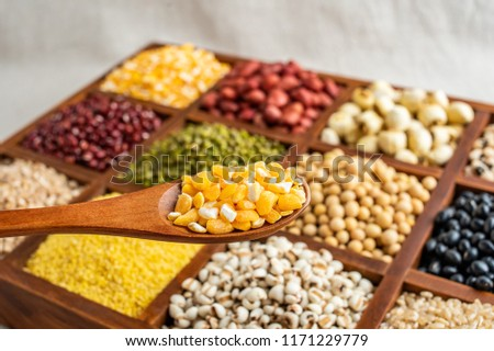 a spoonful of corn grains and grains background material