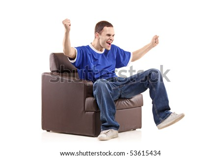 A sport fan sited in a chair isolated on white background