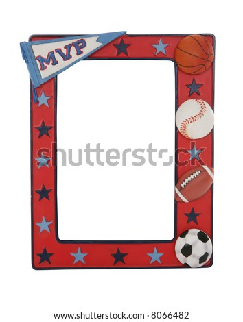 A sports picture frame with baseball, football, basketball, and soccer ball