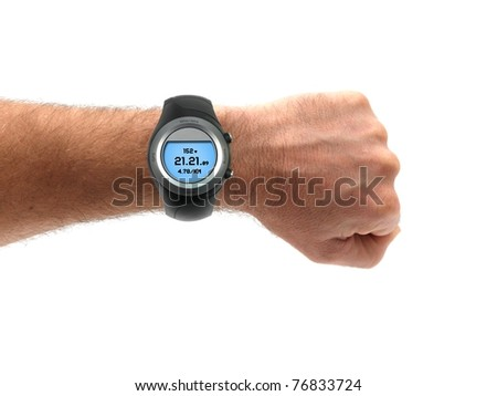 A sports watch isolated against a white background