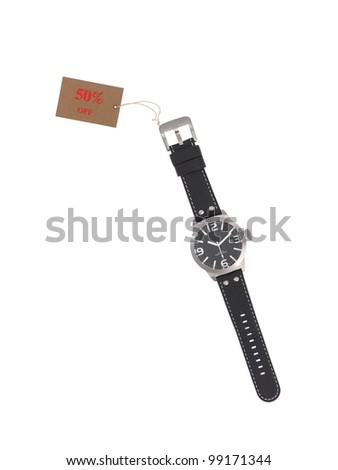 A sports wrist watch isolated against a white background