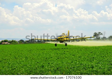 A spray plane applies a zinc compound to a potato field to guard against Late Blight