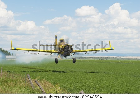 A spray-plane blows smoke to gage wind drift as it applies chemicals to an alfalfa field.