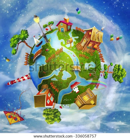 A spring day on planet Earth: a green cartoon world with houses, flowers,sea, trees ,clouds