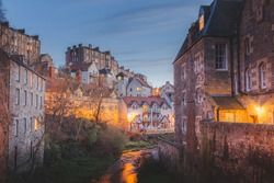A spring evening at the historic 19th century Dean Village and Water of Leith in Edinburgh, Scotland