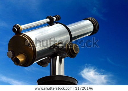 A spyglass is pointed towards the sky. It's a symbol of foresight and forecast. You can look at your targets and clearly see towards the horizons