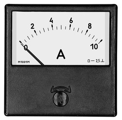 A square black ammeter M1001M for 10 ampere of direct current on the white background