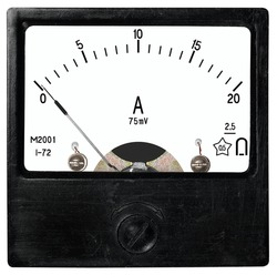 A square black ammeter M2001 (year 1972) for an instrument shunt of 20 ampere 75millivolt of direct current