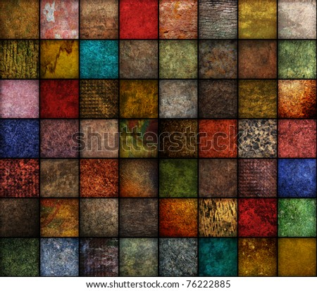 A square, earth tone background with may textures.