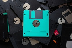 A square floppy disk is a magnetic disk for storing data in an old computer with a small capacity, but floppy disks were still popular in those days because there was no alternative.