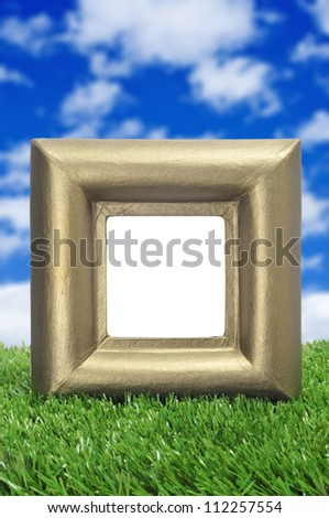 a square golden frame with a blank space on the grass