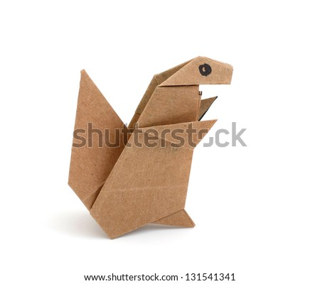 A squirrel origami from recycled paper