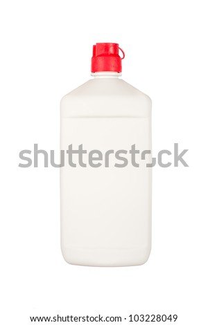 A squirt bottle plastic container with room for copy on the bottle.  Isolated on white for user benefit.