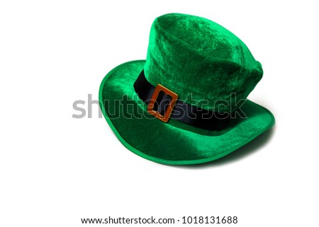 A St. Patrick's day costume hat of a leprechaun. Irish green hat on a white background.