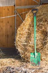 a stable with hay prepared for horses. Stable door, fence, green shovel, ranch work