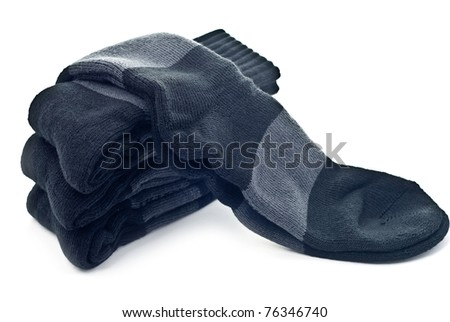 A stack of black socks isolated on a white