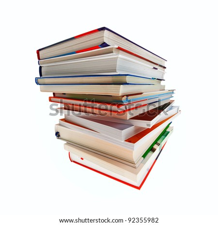 a stack of books isolated on white background and shall be exempt