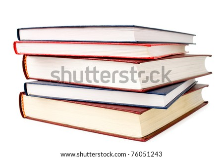 A stack of books on white background