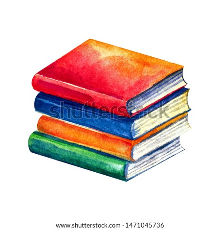 A stack of books, school books with bright covers in watercolors. Isolated object on white background. Hand-drawn illustration in a fun, children's style. Textbooks for students.