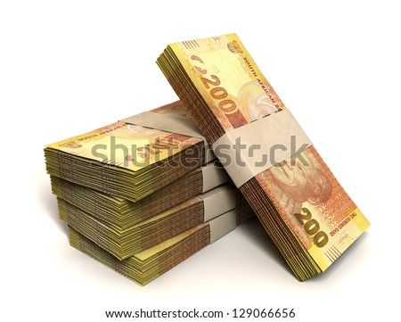 A stack of bundled two hundred rand notes on an isolated background