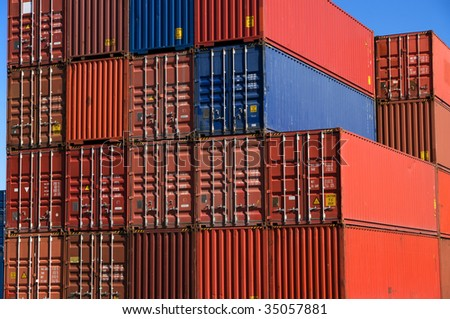 A stack of cargo containers