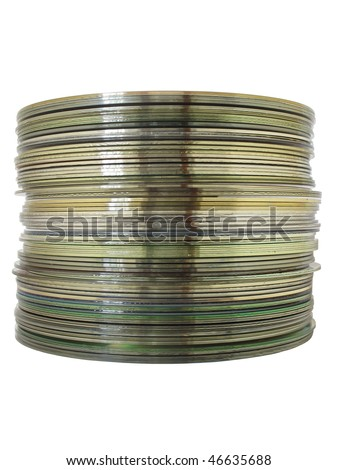 A stack of CDs isolated on a white background