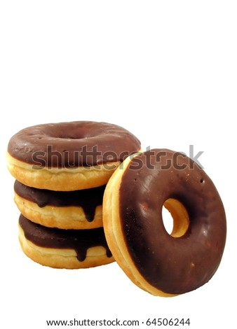 A stack of chocolate doughnuts, isolated on a white background