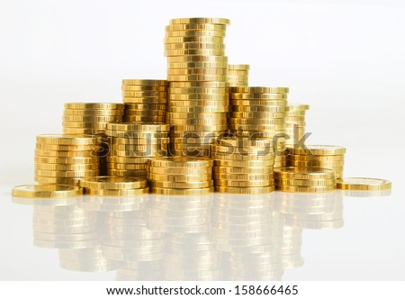 a stack of coins of the yellow...