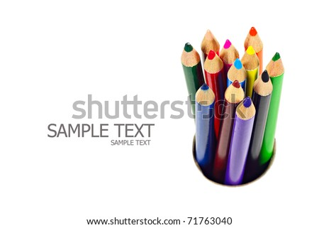 A stack of colored pencils on white background