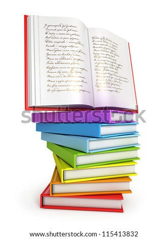 A stack of colorful books with open book on top. Isolated on white background. 3d render