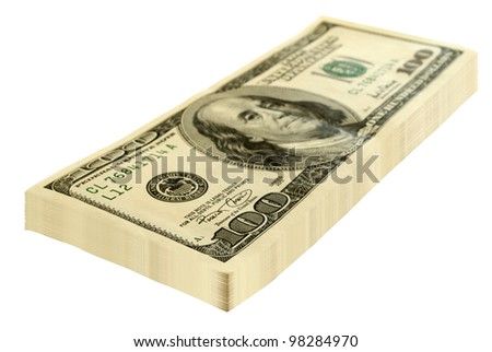 A stack of dollars isolated on a white background.
