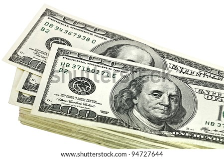 A stack of dollars on a white background. Isolated.