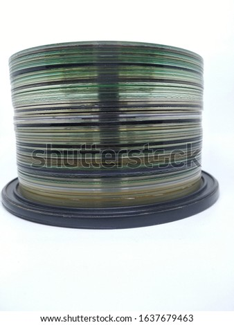 A stack of DVD discs with a front view concept.